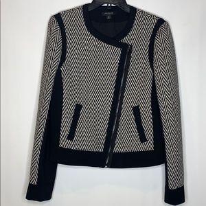 Ann Taylor wool blend herringbone Moto blazer 10